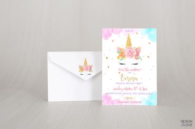 Birthday Invitation Card UNICORN PASTEL RAINBOW