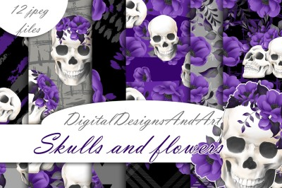 Skulls and flowers paper
