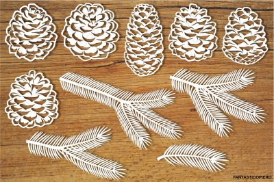 Pine cones and Pine branches SVG Files