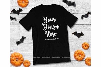 Halloween Fall Style Bella Canvas 3001 Black Blank Tee Display