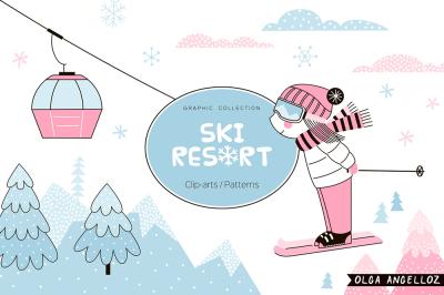 Ski Resort graphic set