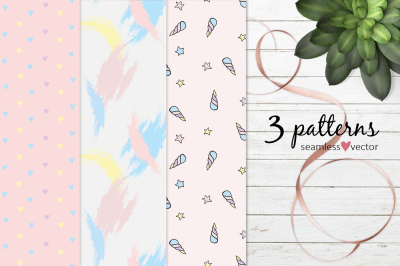Pastel set of patterns  EPS
