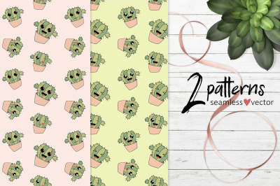 Patterns with funny cactus EPS