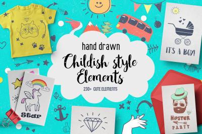 Childish Style elements clipart