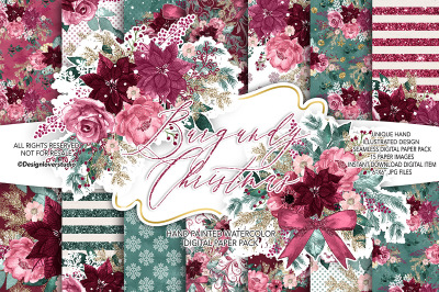 Burgundy Christmas digital paper pack