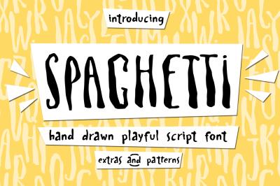 Spaghetti playful script font+Extras