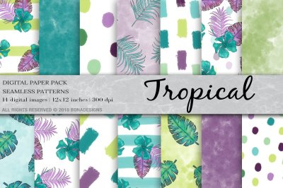 Tropical Digital Paper, Summer Background, Tropical Pattern