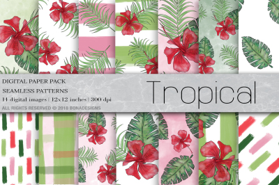 Tropical Digital Paper, Summer Digital Paper, Tropical Background