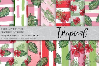 Tropical Digital Paper, Tropical Pattern, Summer Pattern