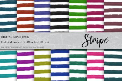 Stripe Digital Paper, Watercolor Stripe Digital Paper