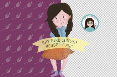 Shy girl clipart