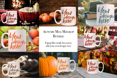 Autumnal mug bundle - 8 mockups