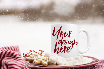 Christmas styled stock mug mockup