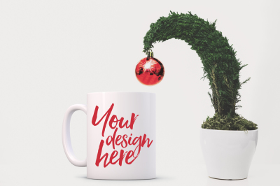 Christmas styled stock mug mockup