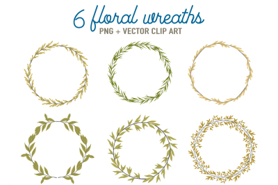 6 green floral wreaths