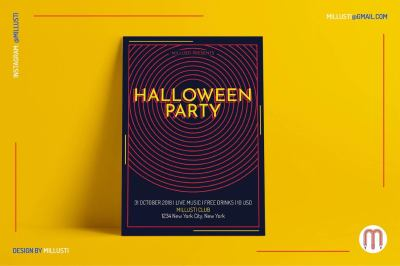Simple Circle Art Deco Halloween Party Flyer Template