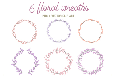 6 floral frames in pink and lilac