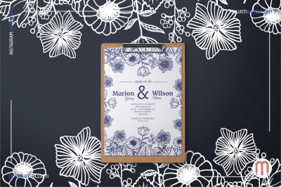Floral Drawing Wedding Invitation