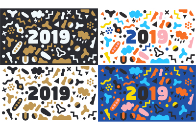 2019 New Year vector background set