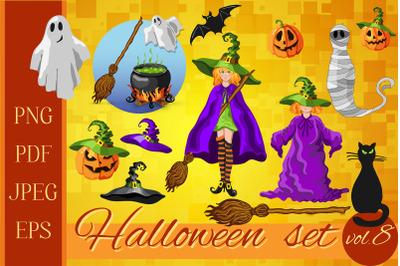 Halloween cartoon style graphic set