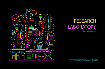 Research Laboratory Equipment vector illustrations
