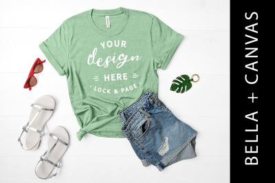 67716b64cb827e Save · Heather Prism Mint T-Shirt Mockup Bella Canvas 3001 Summer Flat Lay