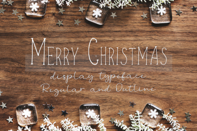 Merry Christmas display font and doodles