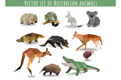 Vector set of Australian animals icons low poly