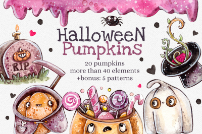 Halloween Pumpkins set +5 patterns