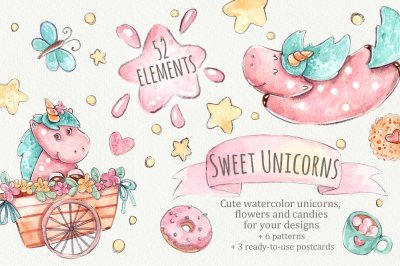 Sweet Unicorns set +6 patterns +3 greeting cards