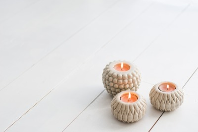 Candles on a White Wooden Floor