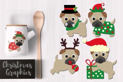 Christmas Puppy Pugs Graphics