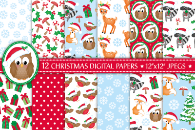 Christmas digital papers, Christmas patterns, Woodland