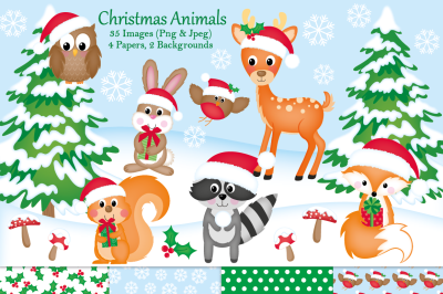 Christmas clipart, Christmas graphics & illustrations,Woodland