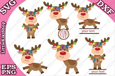 Reindeer Lights Svg, CHRISTMAS REINDEER SVG,Reindeer Monogram