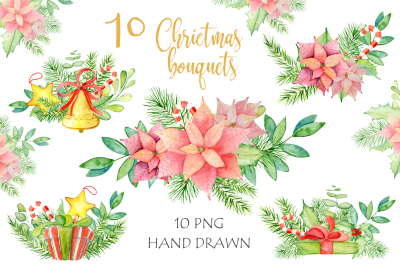 Christmas watercolor bouquets