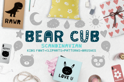 Bear cub Scandinavian kids font + brushes + patterns + MORE!