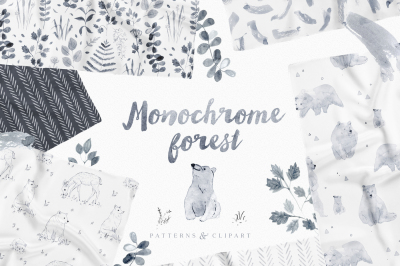 Monochrome Forest patterns & clipart