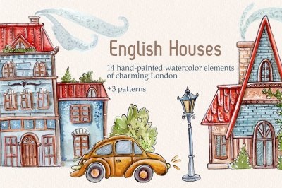 English Houses set +3 patterns