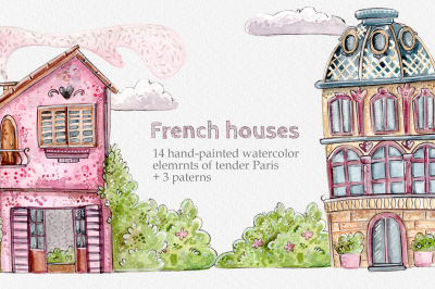 French Houses set +3 patterns
