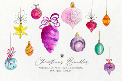 Christmas Watercolor Baubles