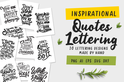 Inspirational Quotes Lettering SVG Bundle
