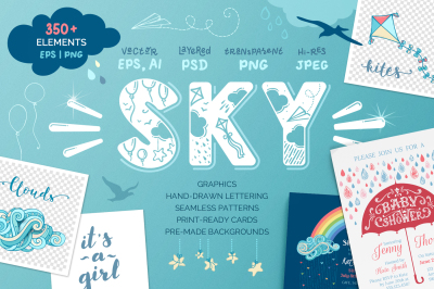 Sky. Graphics-letterings-patterns.
