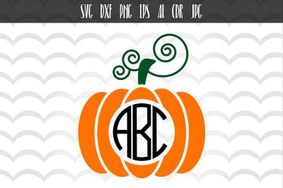 Halloween Pumpkin Svg, Thanksgiving Svg, Fall Monogram
