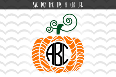 Thanksgiving Pumpkin Fall Monogram SVG