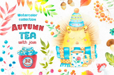 Watercolor collection - Autumn tea with jam