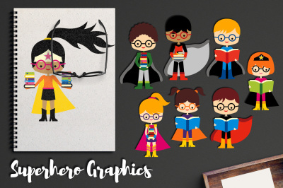 Superhero with glasses and books