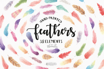 Feathers 38 Elements Watercolor Pretty Boho Mix Colourful