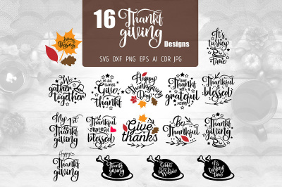 16 Thanksgiving Designs SVG