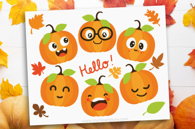 Cute Pumpkins Clipart, Fall, Autumn, Thanksgiving, Sublimation, SVG